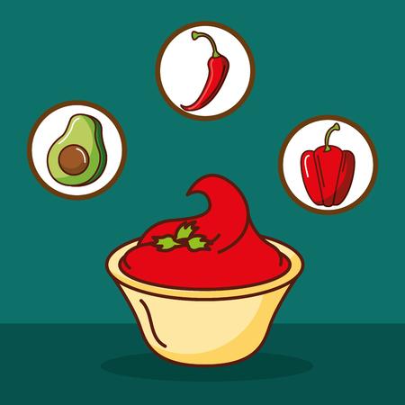 hot sauce chili pepper avocado mexican food vector illustration Çizim