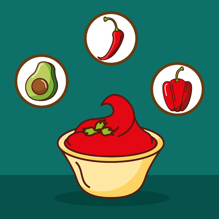 hot sauce chili pepper avocado mexican food vector illustration Illustration
