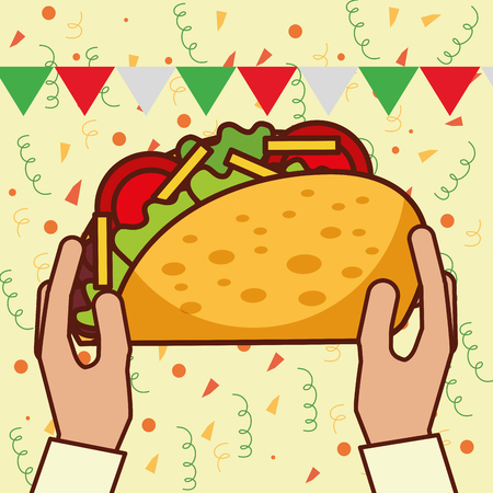 hands holding big taco mexican food vector illustration Illustration