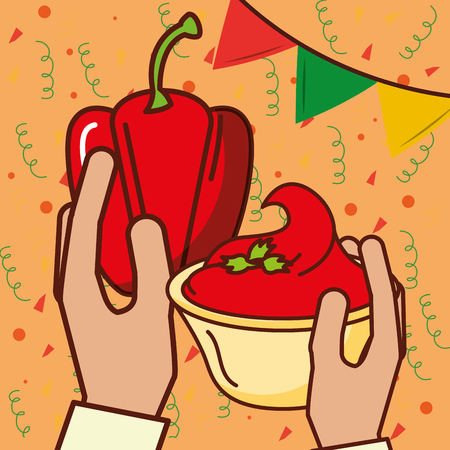 hands holding bell pepper and sauce mexican food vector illustration
