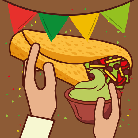 hands holding burrito and guacamole mexican food vector illustration Çizim