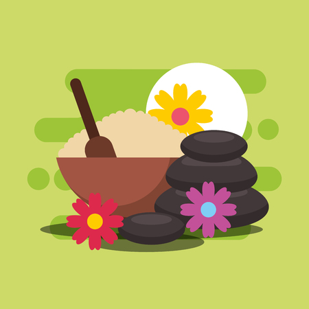 peeling stone therapy and flowers spa wellness vector illustration Ilustração