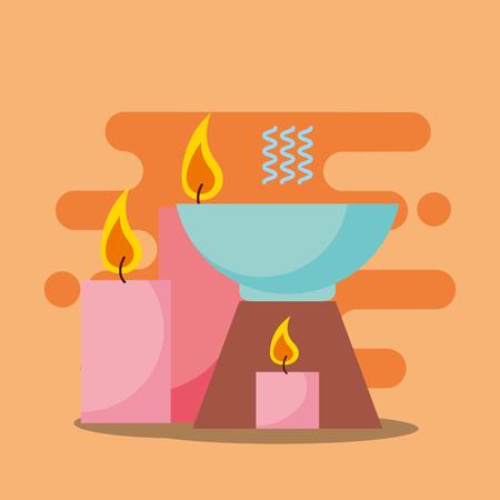 aromatherapy candles health spa wellness vector illustration 矢量图像