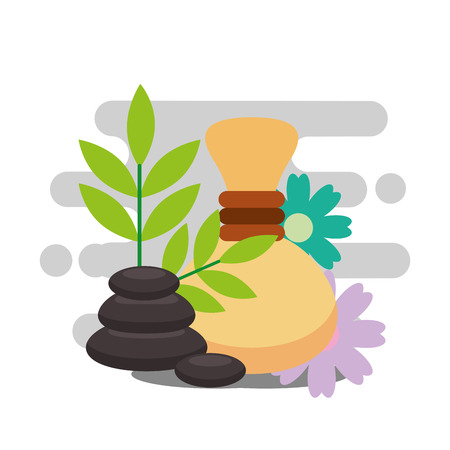 hot compress stone therapy and herbal spa wellness vector illustration