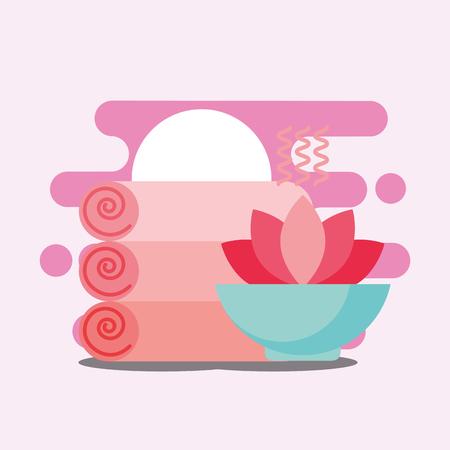massage towels and lotus flower spa wellness vector illustration