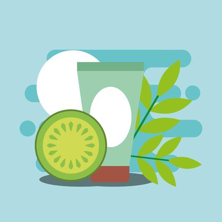 herbal organic cream fruit treatment spa wellness vector illustration