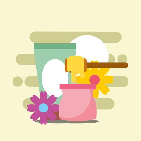 depilatory wax and cream floral spa wellness vector illustration Illustration