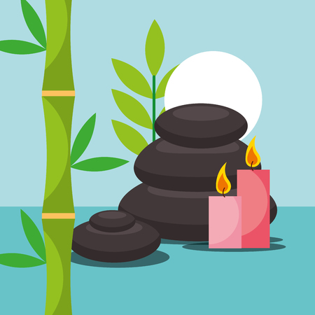 stone therapy candles bamboo spa wellness vector illustration Banque d'images - 102989440
