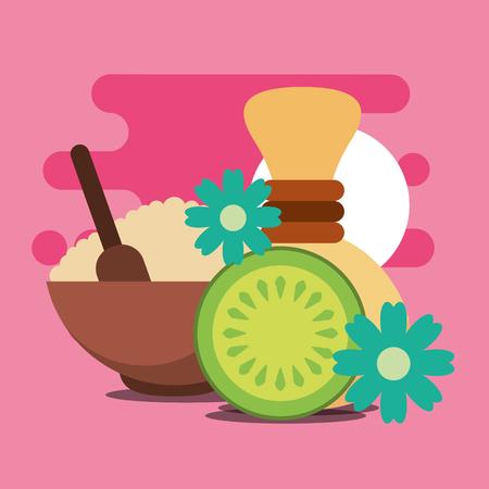 peeling salt hot compress and fruit flowers treatment spa wellness vector illustration Illustration