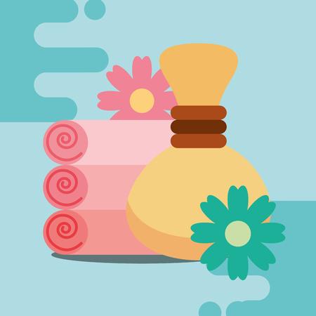 towels and hot compress flowers spa wellness vector illustration Standard-Bild - 102989446