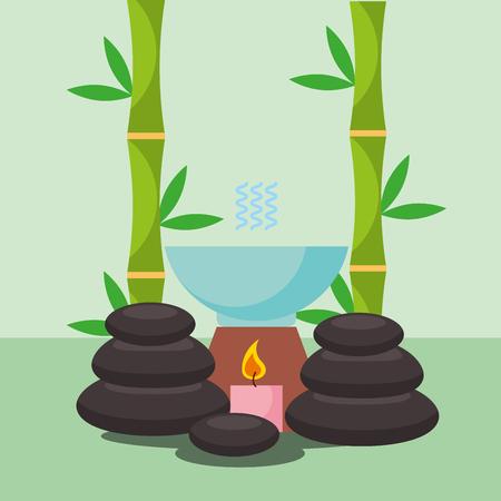 aromatherapy stone massage treatment candle spa wellness vector illustration