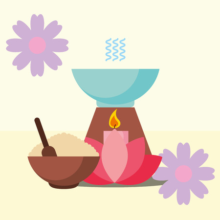 aromatherapy peeling flowers and candle spa wellness vector illustration Illustration