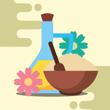 massage lotion oil aromatic salt peeling spa wellness vector illustration