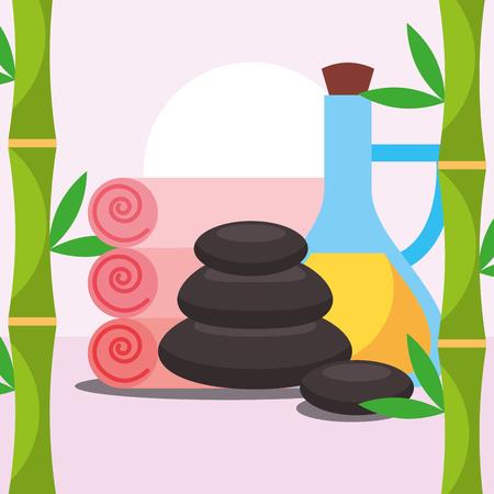 stone massage oil towels spa wellness vector illustration Ilustração