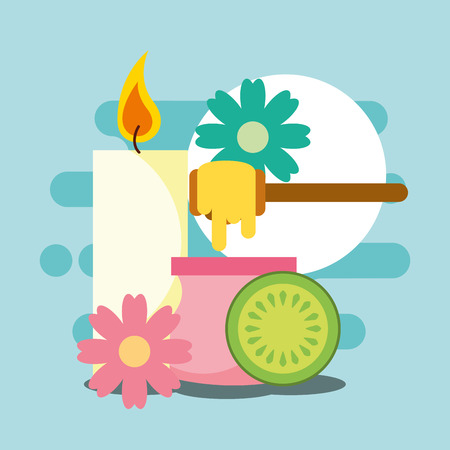 depilatory wax candle flowers and fruit spa wellness vector illustration Illustration