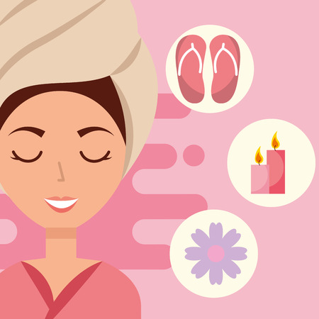 woman with towel on head sandals candle flower spa wellness vector illustration