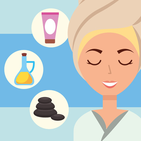 woman with towel on head stone oil and cream spa wellness vector illustration
