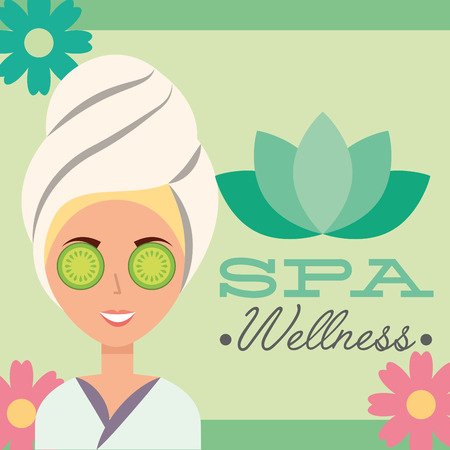 woman with towel on head spa wellness vector illustration