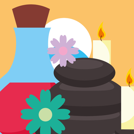 stone therapy massage candles flowers spa wellness vector illustration Banque d'images - 102989455