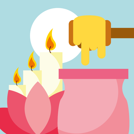 depilatory wax lotus flower and candle spa wellness vector illustration Stock Vector - 102989454