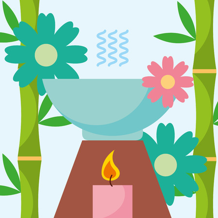 aromatherapy candle herbal and flowers spa wellness vector illustration Illustration