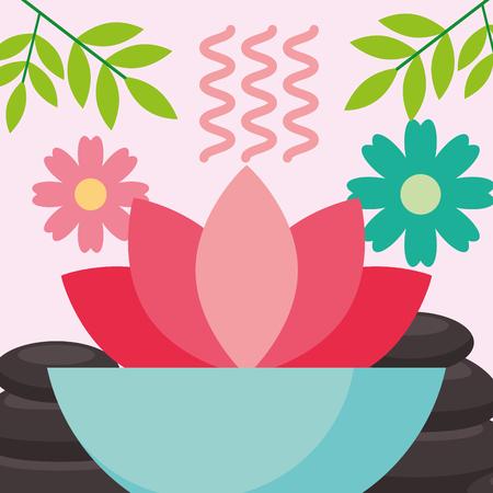 aromatherapy lotus flower stone health spa wellness vector illustration Illustration