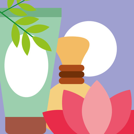 lotion massage hot compress flower spa wellness vector illustration