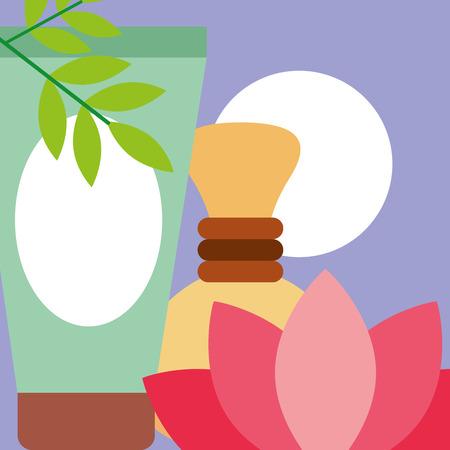 lotion massage hot compress flower spa wellness vector illustration
