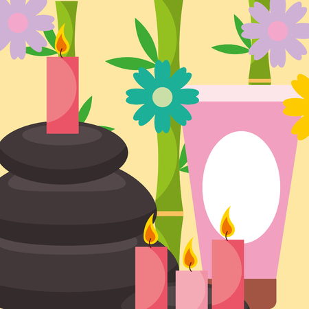 stone massage treatment therapy candles and cream spa wellness vector illustration