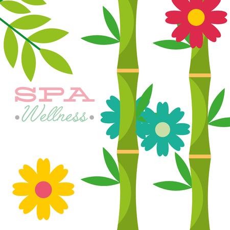 organic flowers herbal bamboo spa wellness vector illustration