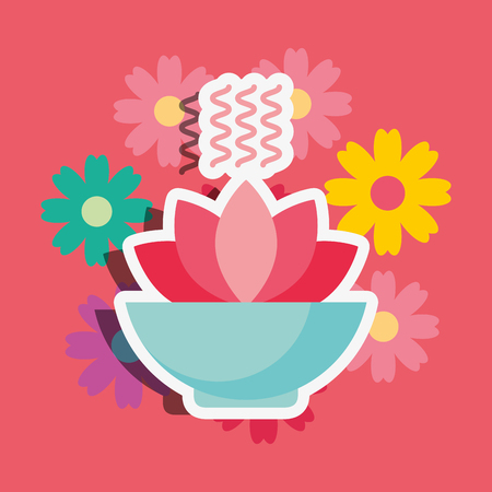 bowl flower aromatherapy floral spa wellness vector illustration