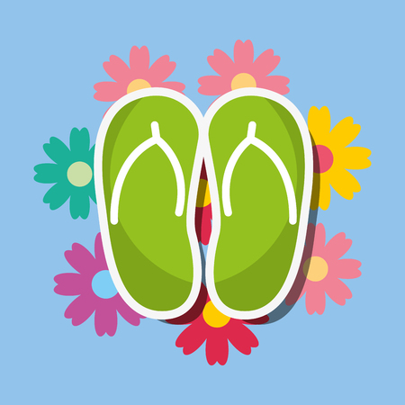 green flip flops floral spa wellness vector illustration