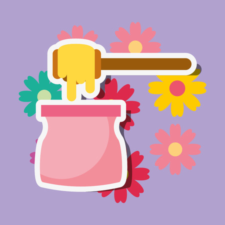 depilatory wax floral spa wellness vector illustration