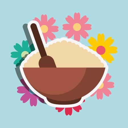 peeling product organic floral spa wellness vector illustration