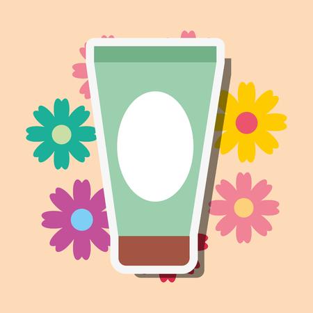 cream tube cosmetic floral spa wellness vector illustration