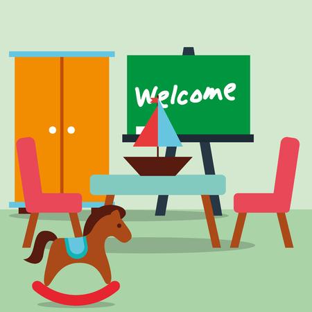 classroom  rocking horse sailboat chalkboard welcome text vector illustration Stock Illustratie