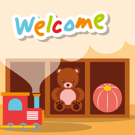 welcome kindergarten toys bear train and ball vector illustration Archivio Fotografico - 102989465