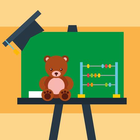 chalkboard bear teddy abacus and graduation cap vector illustration Stock Illustratie