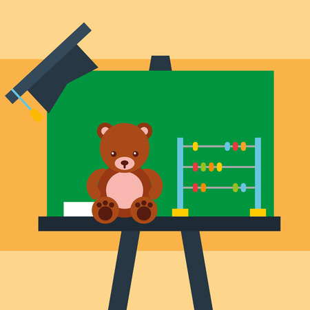 chalkboard bear teddy abacus and graduation cap vector illustration Illustration