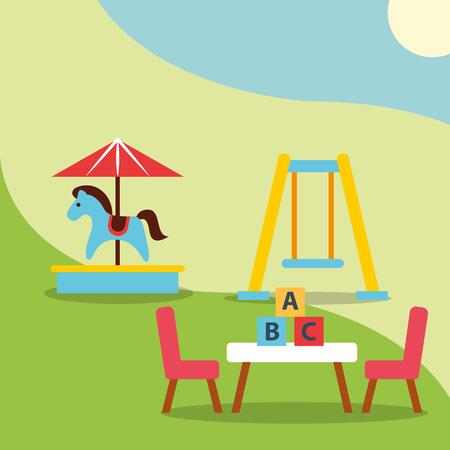 carousel swing and table blocks alphabet toys vector illustration