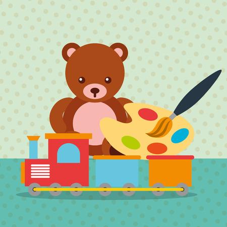 bear teddy train wagon paint brush color palette toys vector illustration