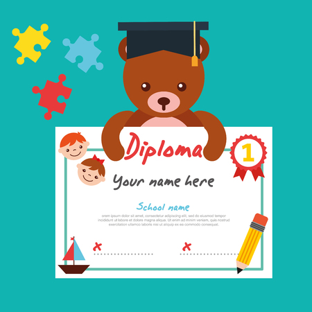 cute bear teddy with graduation cap holding diploma vector illustration 向量圖像
