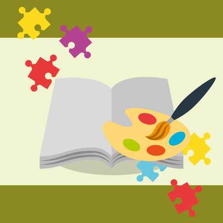 open book with paint brush palette color puzzles vector illustration