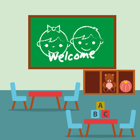 classroom  chalkboard tables and chairs blocks alphabet vector illustration Foto de archivo - 102989482