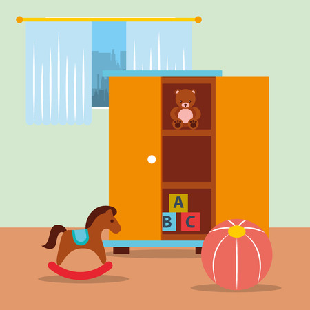 classroom  closet with toys bear blocks rocking horse and ball vector illustration