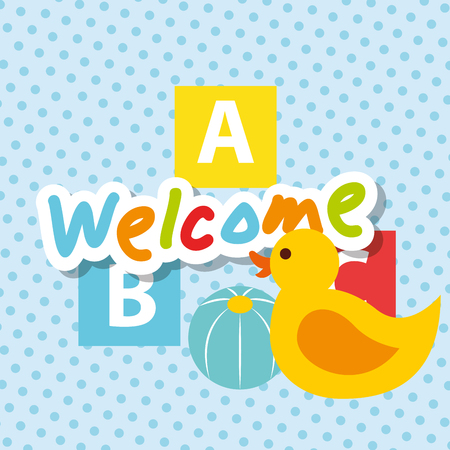 welcome text rubber duck ball and blocks alphabet vector illustration Ilustracja