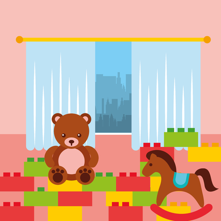 classroom  bear rocking horse and bricks construction toys vector illustration Illustration