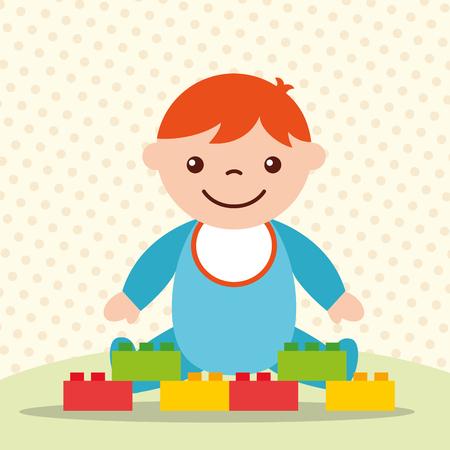 cute toddler boy with blocks brick toys vector illustration Illustration