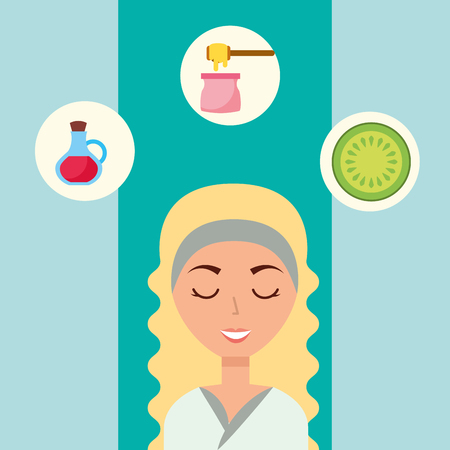 beautiful woman closed eyes wax depilation fruit lotion spa wellness vector illustration