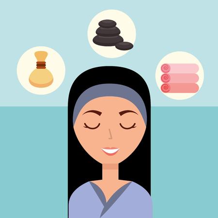 beautiful woman with headband stone towels spa wellness vector illustration